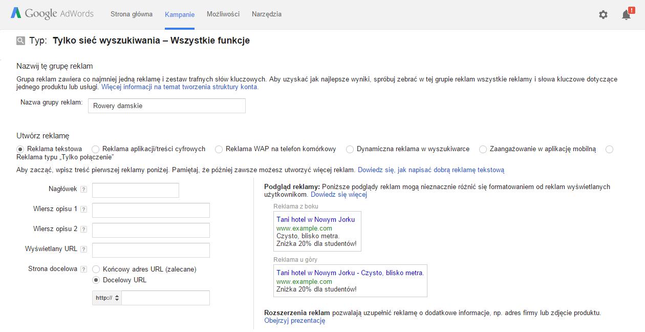 Kampania Google Adwords