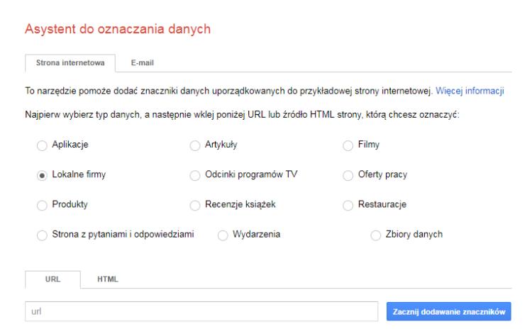 Pozycjonowanie lokalne - Marker danych Google