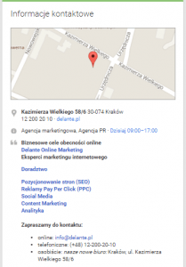 Dane kontaktowe - pozycjonowanie Google Maps