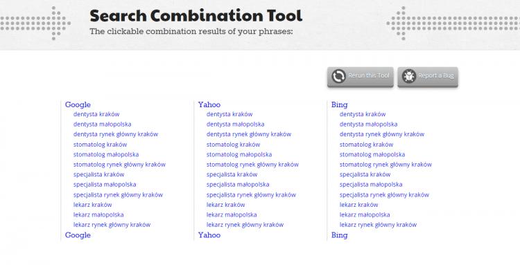 Search combination tool - słowa kluczowe