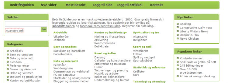 Norwegian online business directories submissions