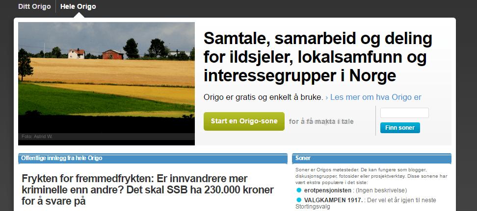 Pozycjonowanie w Norwegii - portal origo.no