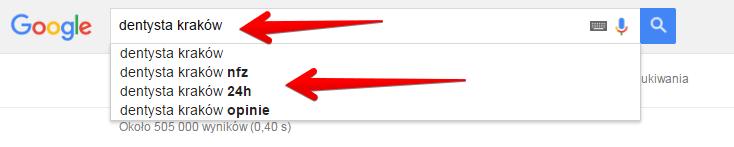 Autosugestia słów kluczowych w Google