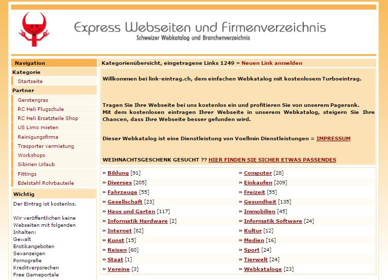 Pozycjonowanie w Szwajcarii przykład katalogu