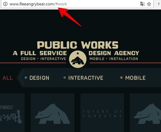 Sposób wyświetlania kotwic w adresie URL pozycjonowanego one page'a