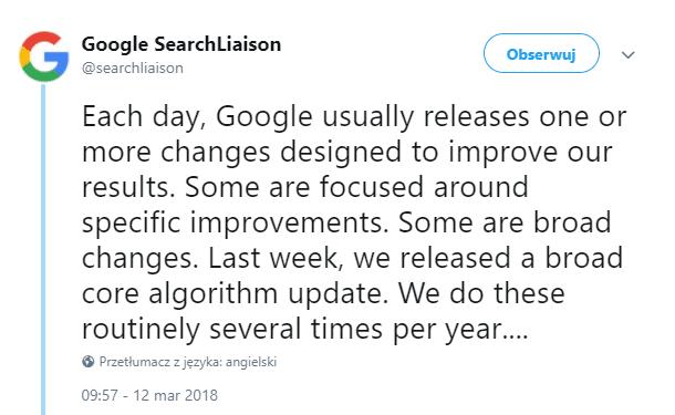Informacja o aktualizacji algorytmu Google w marcu