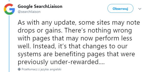 Aktualizacja algorytmu Google w marcu