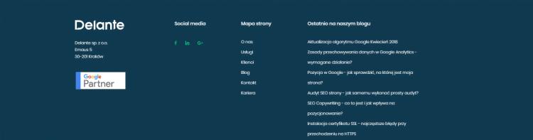 Stopka na stronie internetowej z informacją o statusie partnera Google