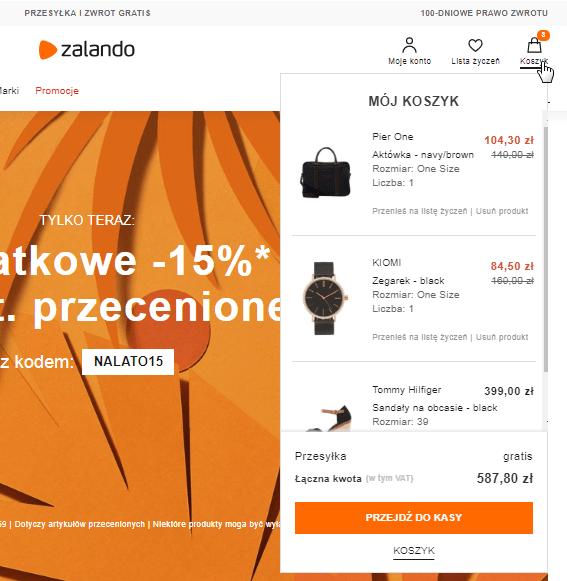 Przykład koszyka w sklepie internetowym - Zalando