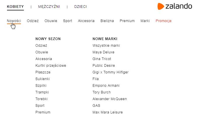 Przykład menu na stronie - Zalando