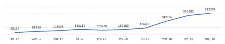 Wyświetlenia strony Lubie Buty w wynikach wyszukiwania