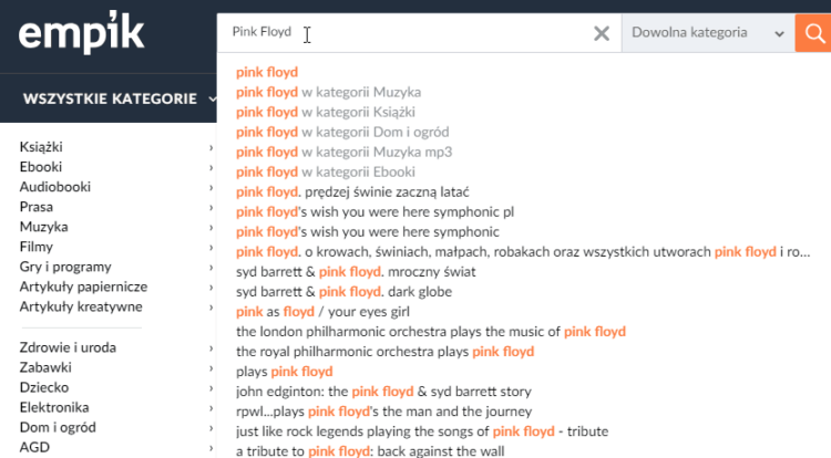 Przykład wyszukiwarki na stronie - Empik