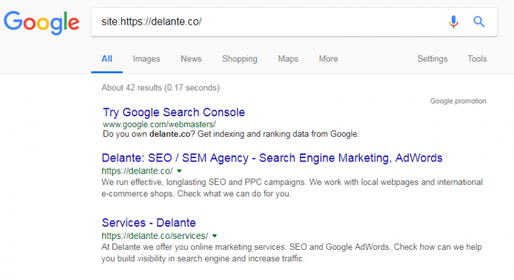 site results in google - index check
