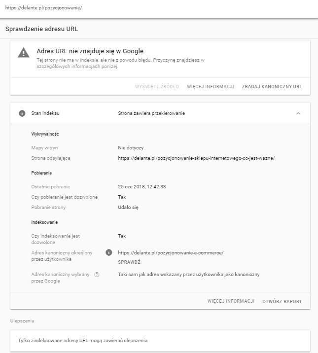 Sprawdzanie adresu URL - raport błędów