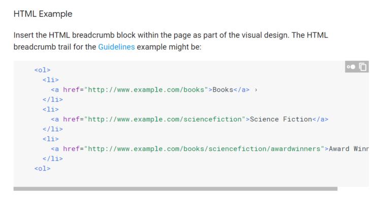 Breadcrumbs blok html