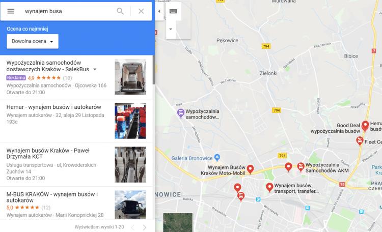Reklama mapy Google
