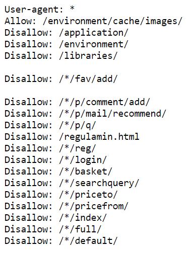 Przykład pliku robots.txt