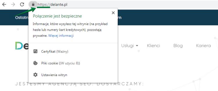 Adres URL z wdrożonym SSL