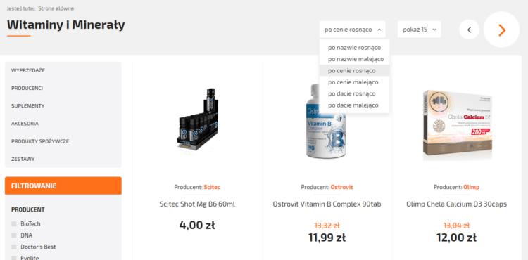 UX - filtrowanie produktów przykład