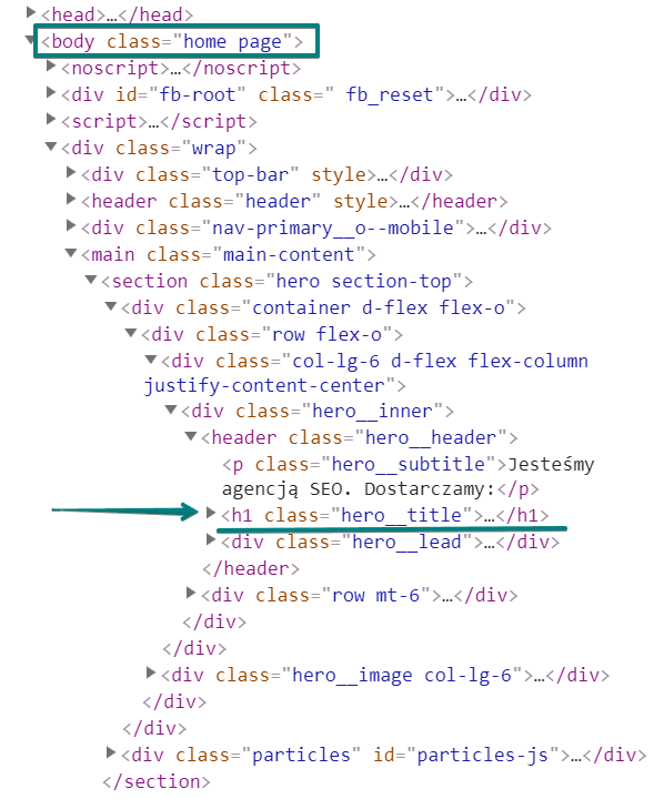 Nagłówki strony w kodzie