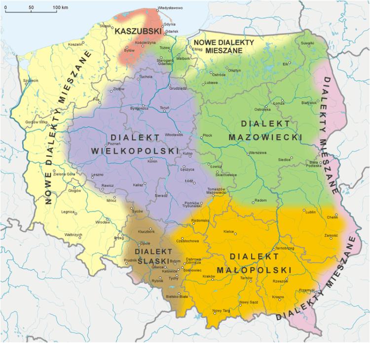 Dialekty w Polsce - mapa