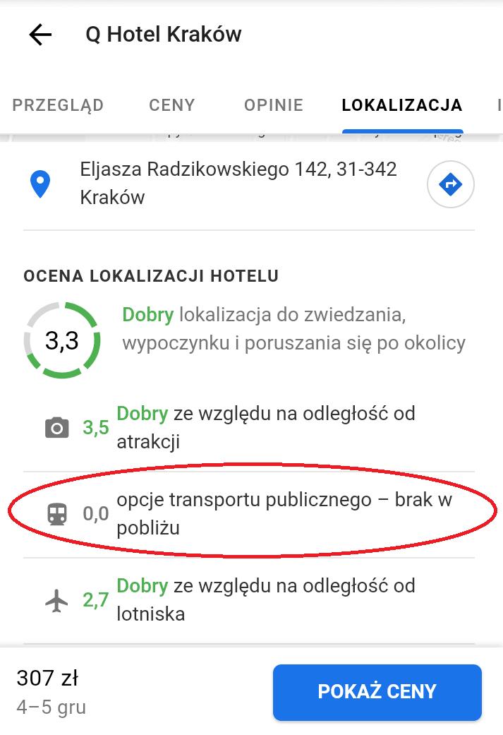 Informacja o komunikacji - hotele google