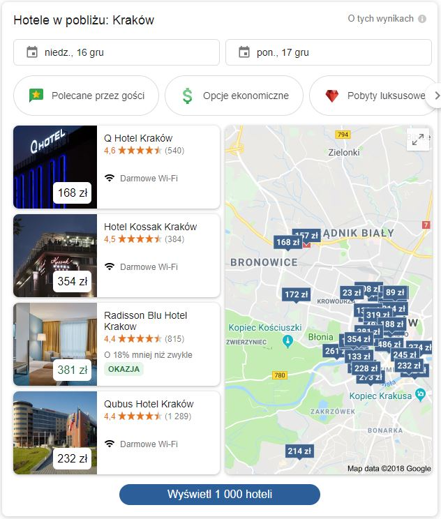 Wyszukiwanie hotelu na desktopie