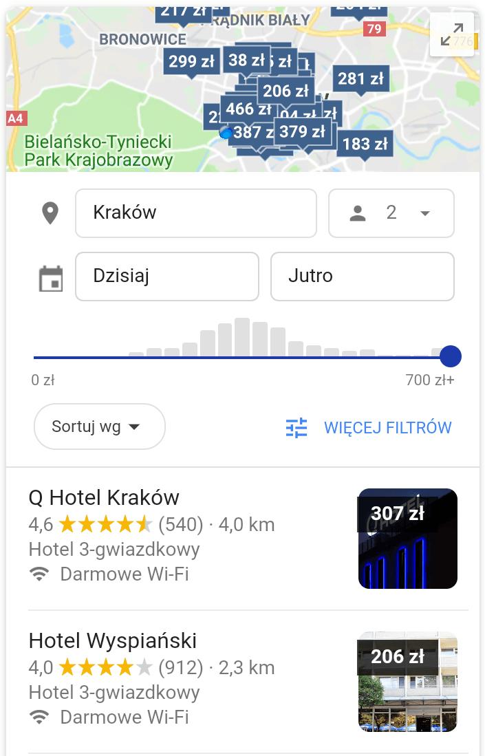 Wyszukiwanie hoteli Google