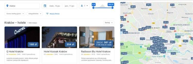 Wyszukiwarka hoteli w Google