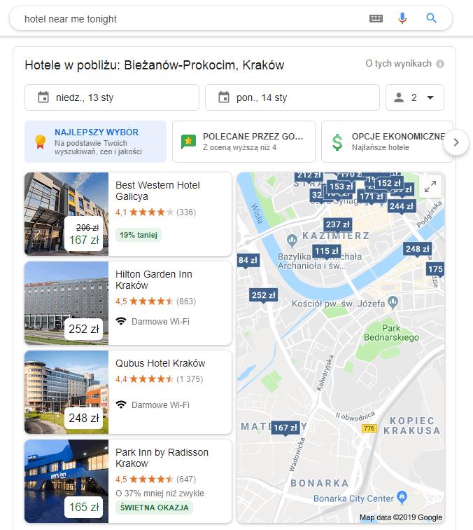 Hotel blisko mnie na mapach google