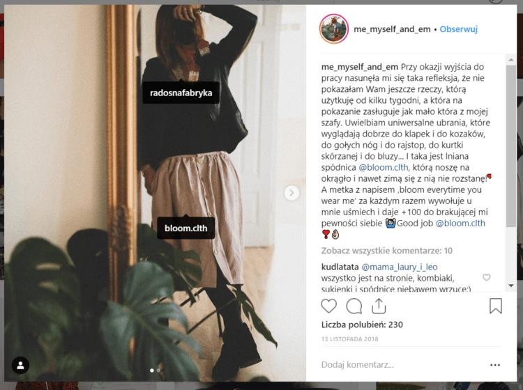 Branża odzieżowa - instagram