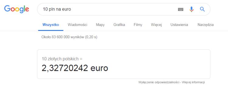 Waluty w Google - przeliczanie