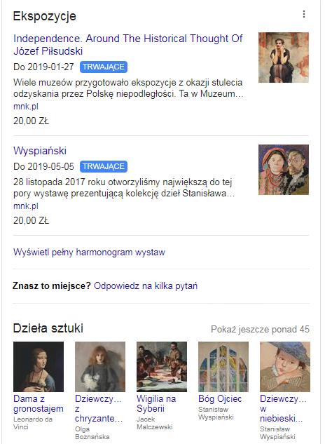 Informacje na wizytówce muzeum