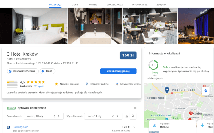 Wyszukiwanie hoteli w Google