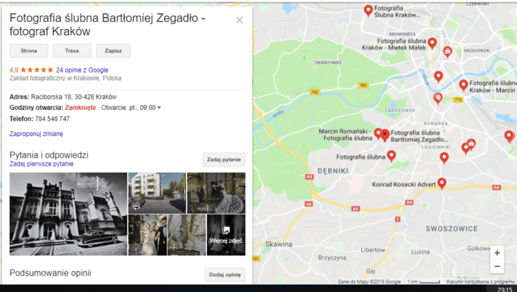 Wizytówka Google Moja FIima