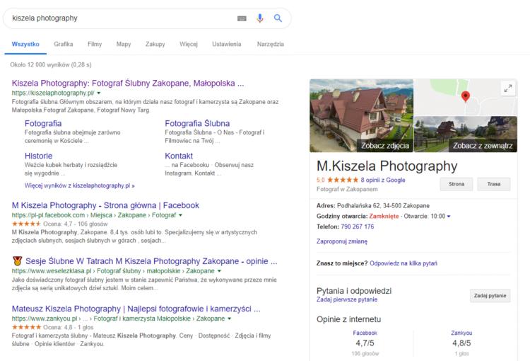 Wynik wyszukiwania strony fotograficznej
