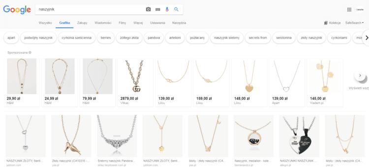 reklamy produktowe w grafice google