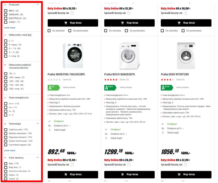 Filtrowanie produktów w sklepie internetowym - AGD
