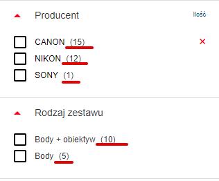 Filtrowanie - lista produktów