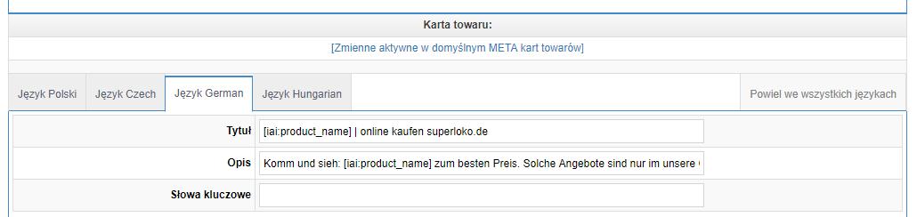 Metadane dla produktów - Superloko