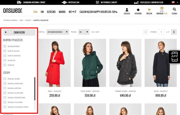 Przykład filtrowania produktów w sklepie internetowym