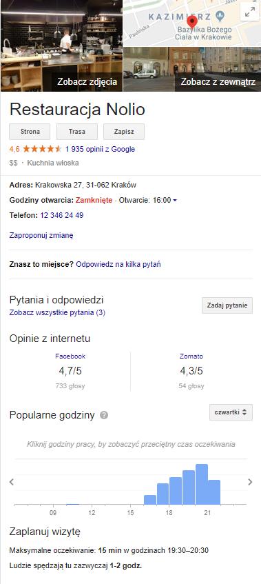 Google Moja Firma - restauracja