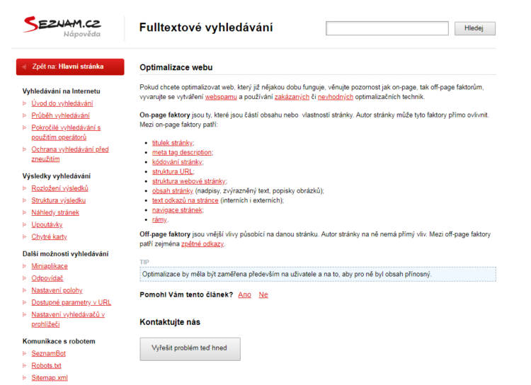 Seznam webmasters help