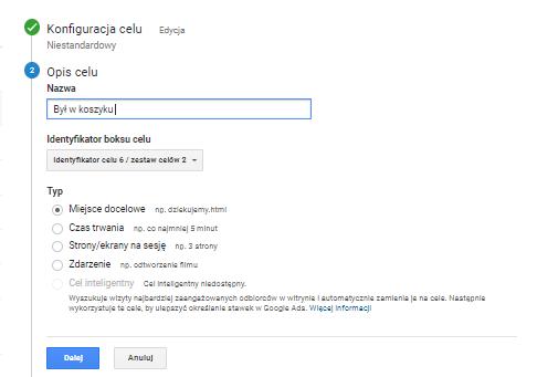 Ustawienie celów konwersji w Google Analytics