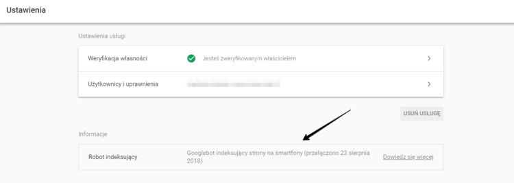 Informacja o Mobile-First indexing w Google Search Console