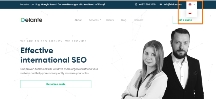 International SEO - changing language by flag