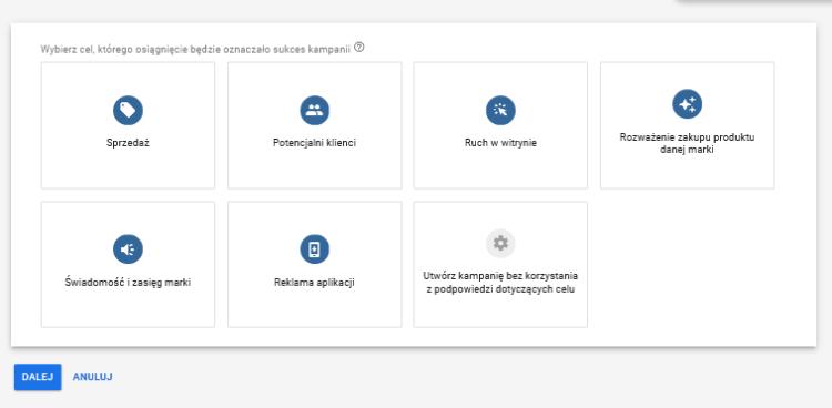 Google Ads - wybór celów kampanii