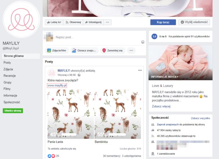 branża dziecięca - facebook
