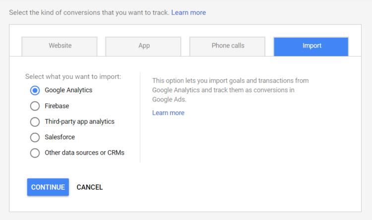 Import goals to google analytics