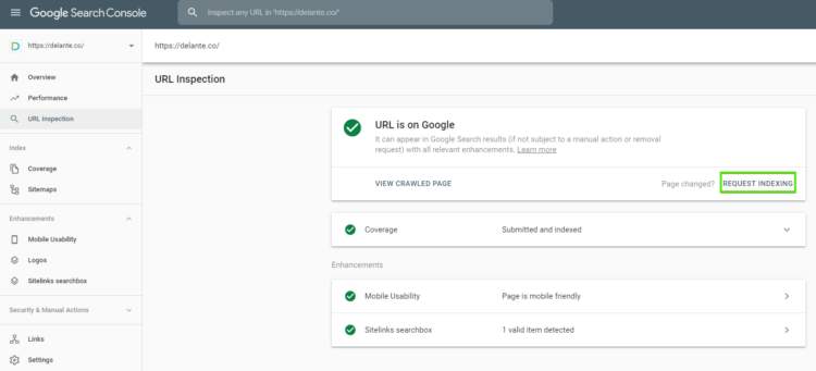 Google indexing request in google search console